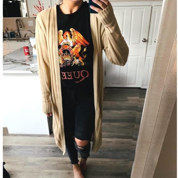 Nasty Gal Sweaters - NWOT Beige ribbed duster cardigan